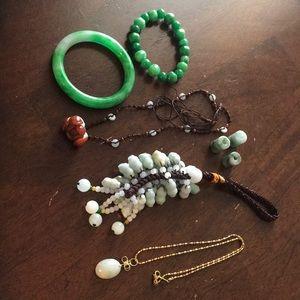 Vintage used jade jewelry lot